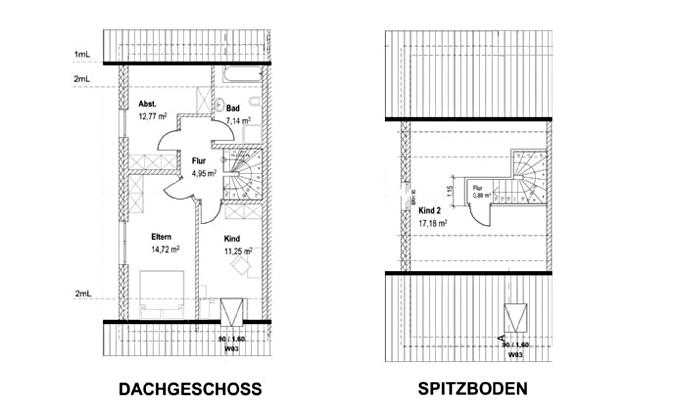 Zeichnung Dachgeschoss und Spitzboden